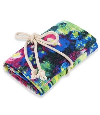 Watercolor Ink Painting Canvas Pencil Wrap Roll Organizer – 72 slots